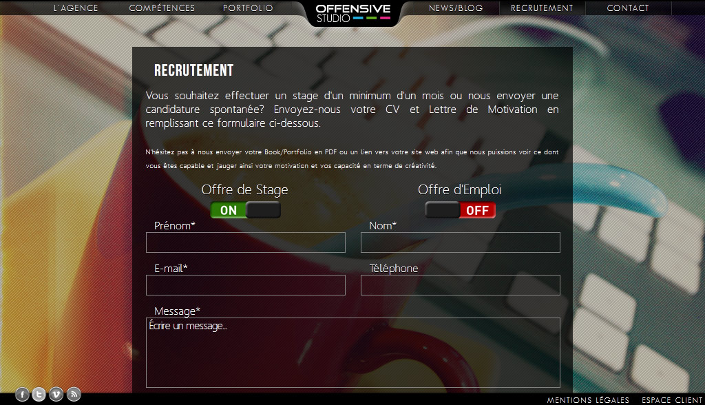 Page de recrutements - www.offensive-studio.com