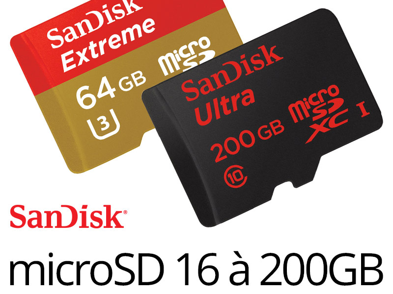 bon plan les microsdhc xc sandisk de 16 200 go classe 10 de 5 79 bxnxg actualit. Black Bedroom Furniture Sets. Home Design Ideas